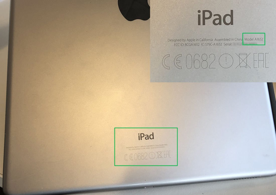Which iPad do I have: iPad Pro rear with model number inset