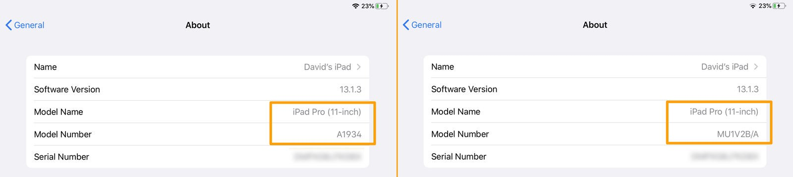 How to identify which iPad you have: Settings